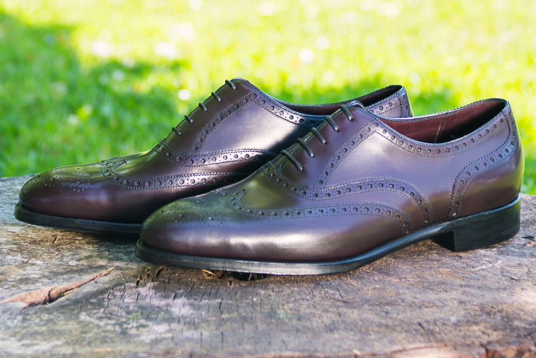 Dark brown brogue oxford with wing toe bespoke shoe