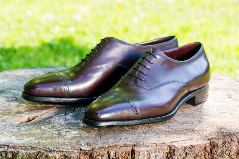 bespoke cap toe oxford shoes